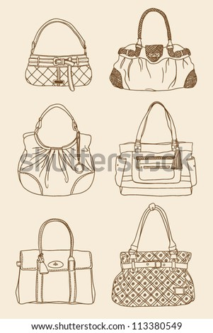 outline fashion bags set - stock vector