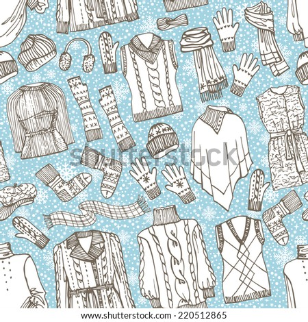 Outline Fashionable female knitted  clothing ,accessories seamless pattern on Sketchy style.Snowflakes background. Autumn ,winter woman wear.For fabric,background,backdrop,Wallpaper.Fashion Vector. - stock vector