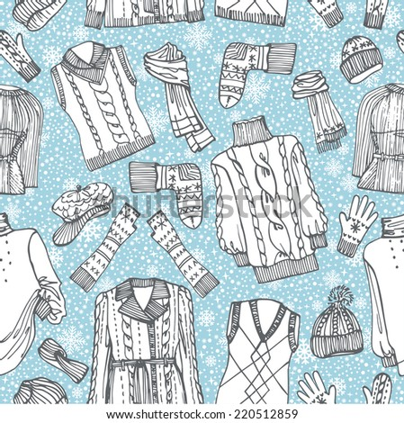 Outline Fashionable female knitted  clothing and accessories seamless pattern.Snowflakes background.Set on Sketchy style.Autumn ,winter woman wear.Fashion background,backdrop,fabric,wallpaper.Vector. - stock vector
