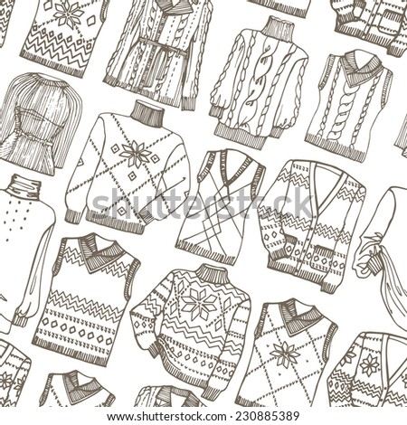 Outline Fashionable knitted  clothing seamless pattern on Sketchy style.Autumn ,winter,spring  wear.Fashion illustrations.For Backdrop,background,fabric,Wallpaper.Vector. - stock vector
