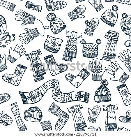 Outline Female knitted accessories seamless pattern on Sketchy style .Winter  wear.Mittens,gloves,stockings,socks,hats, scarf with ornament.Backdrop,background,fabric,Wallpaper.Hipster Fashion Vector. - stock vector