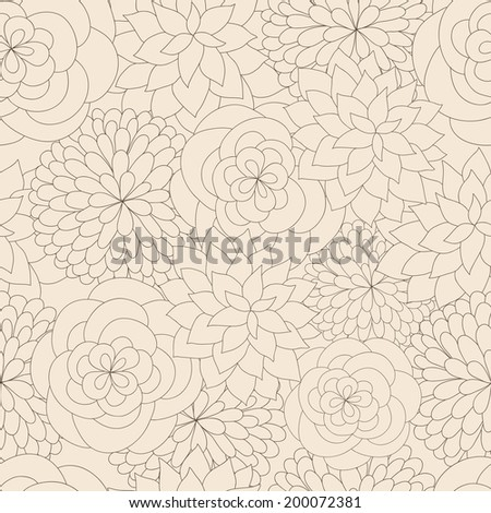 Outline floral seamless vector pattern. Ideal for textile, wrapping paper, wallpaper - stock vector