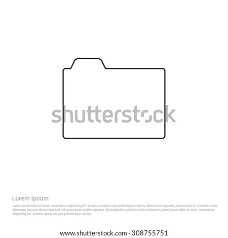 Outline Folder Icon, Vector Illustration, Flat pictogram icon - stock vector