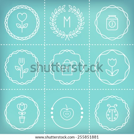Outline Frames, Icons, Signs and Elements for Creating Labels, Logos, Stamps, Badges, Monograms and Banners. Gardening and Cooking Theme. Blurry Background - stock vector
