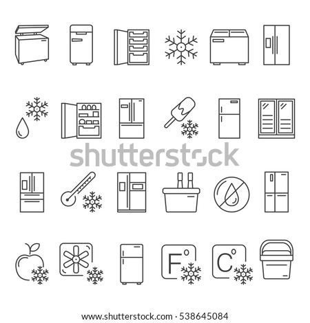 Outline Fridge Icons Signs Symbols Set Stock Vector