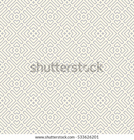 Outline geometric abstract background. Seamless pattern with repeated stylized squares. French maze motif. Can be used for digital paper, textile print, page fill. Vector illustration.