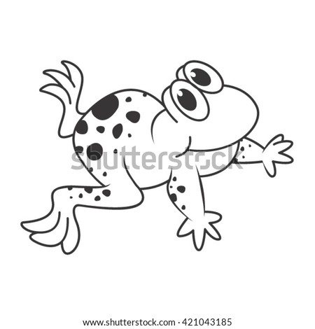 outline happy frog crawling cartoon-vector drawing
