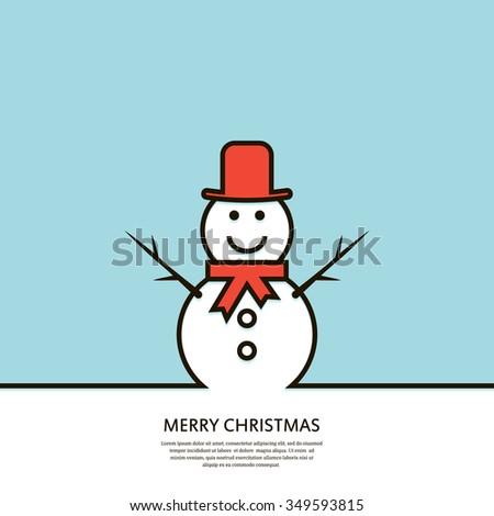 Outline  happy snowman. Christmas card. Minimal Christmas abstract background. Vector illustration. - stock vector