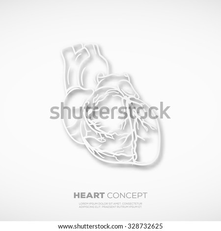 Outline Heart Concept Sign. Template for School, Hospital, Medical Poster, Presentation or your art works. - stock vector