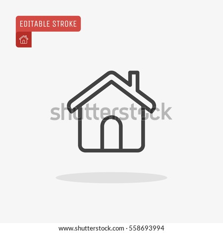 Outline home icon isolated on grey stock vector 558693994 for House music symbol