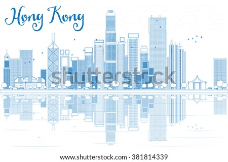 Outline Hong Kong skyline with blue buildings. Vector illustration. Business travel and tourism concept with modern buildings. Image for presentation, banner, placard and web site.