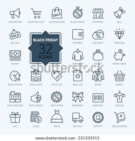 Outline icon collection - Black Friday Big Sale - stock vector