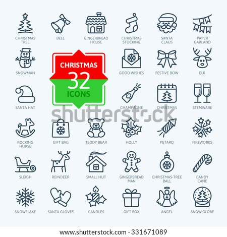 Outline icon collection - Christmas set - stock vector