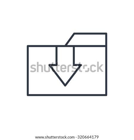 outline icon of upload folder  - stock vector