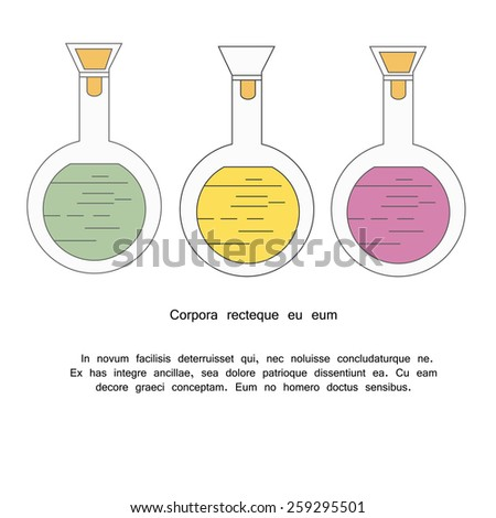 Outline icons of chemical test tube on the white  background - stock vector