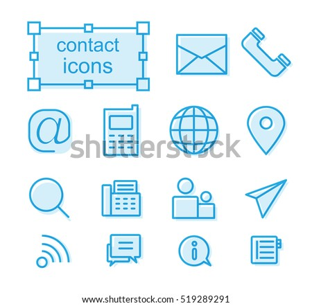 Outline icons set - Contact us
