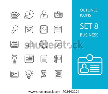 Outline icons thin flat design, modern line stroke style, web and mobile design element, objects and vector illustration icons set 8 - businnes collection - stock vector