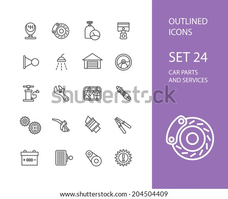 Outline icons thin flat design, modern line stroke style, web and mobile design element, objects and vector illustration icons set 24 - car parts and services collection - stock vector