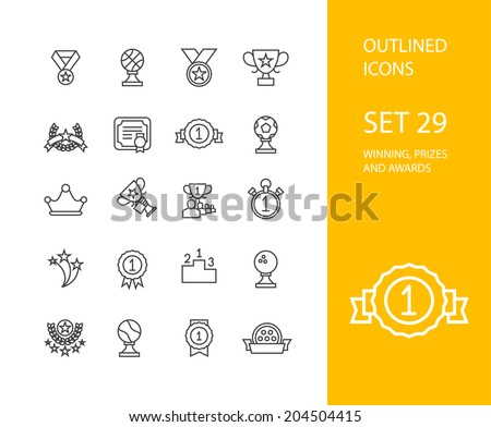 Outline icons thin flat design, modern line stroke style, web and mobile design element, objects and vector illustration icons set 28 - winning prizes and awards collection - stock vector