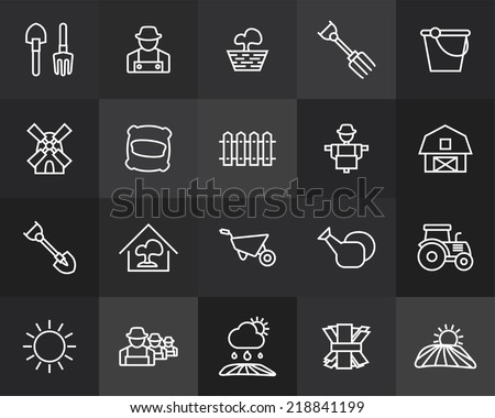 Outline icons thin flat design, modern line stroke style, web and mobile design element, objects and vector illustration icons set 26 - farm and farming collection - stock vector