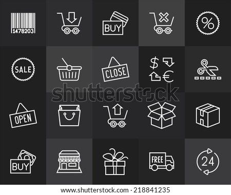 Outline icons thin flat design, modern line stroke style, web and mobile design element, objects and vector illustration icons set 20 - sales and retail collection - stock vector