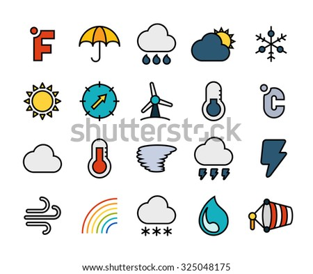Outline icons thin flat design, modern line stroke style, web and mobile design element, objects and vector illustration icons set 23 - weather collection