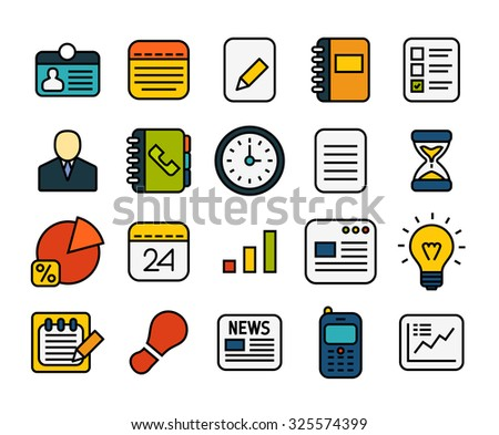 Outline icons thin flat design, modern line stroke style, web and mobile design element, objects and vector illustration icons set 8 - business collection - stock vector