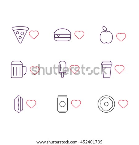 Outline icons with heart: pizza, burger, beer, ice cream, coffee, hot dog, soda, donut, apple. Vector flat food and drink, design on white background. - stock vector