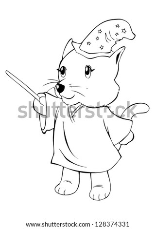 Outline illustration of a cat in magician costume - stock vector