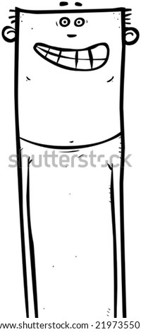 Outline illustration of a happy looking young man. - stock vector