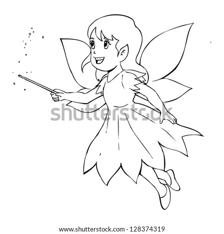 Outline illustration of a little fairy - stock vector