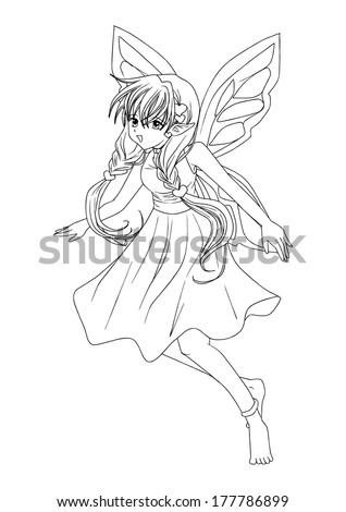 Outline illustration of a pixie  - stock vector
