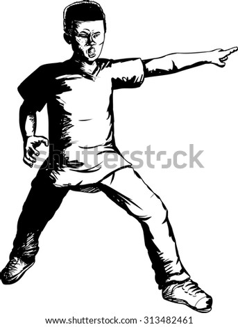 Outline illustration of brave Black teen pointing finger