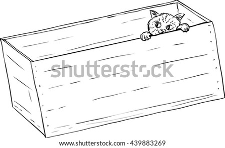 Outline illustration of cute tabby kitten peeking from inside of wooden crate - stock vector