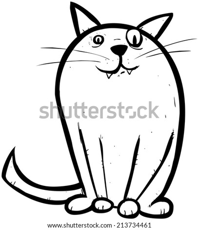 Outline illustration of Smuggie, the enigmatic cat. - stock vector