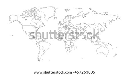 Vector world map countries outline vectores en stock 541646116 outline illustration of the world with country borders gumiabroncs Choice Image