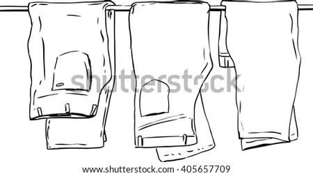Outline illustration of three pairs of folded jeans and pants