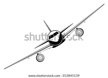 outline jet passenger aircraft - stock vector