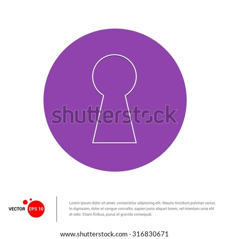 Outline keyhole Icon, Vector Illustration, Flat pictogram icon - stock vector