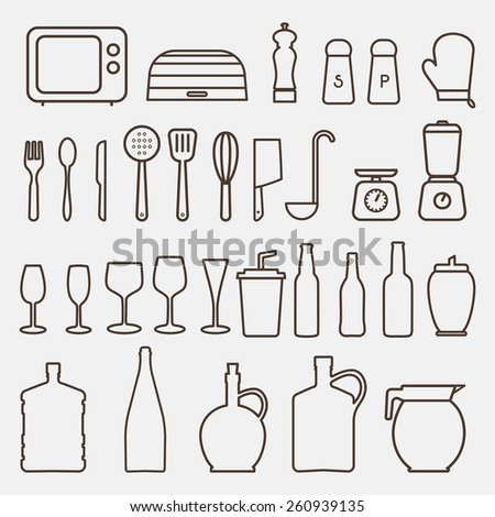 Outline Kitchen Icon Set - Vector Graphics  - stock vector
