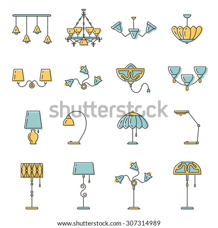 Outline lamp icon set, thin line style, flat design in yellow and blue color. Lamp vector illustration: wall lamp, desk lamp, floor lamp, chandelier, decorate lamp - stock vector