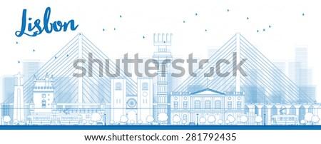 Outline Lisbon city skyline with blue buildings. Vector illustration - stock vector