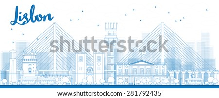 Outline Lisbon city skyline with blue buildings. Vector illustration. Business travel and tourism concept with historic buildings. Image for presentation, banner, placard and web site. - stock vector