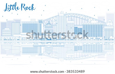 Outline Little Rock skyline with blue buildings and reflections. Vector illustration. Business travel and tourism concept with place for text. Image for presentation, banner, placard and web site. - stock vector