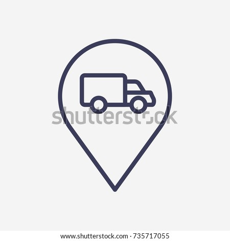 Outline location truck icon illustration vector symbol