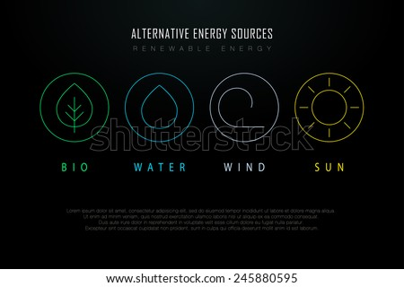 Outline logos with alternative energy sources. Copyspace. Eco-friendly energy source. Renewable energy source. Energy conservation. Energy efficiency. Energy saving. Eco logo. Energy thin line logo.  - stock vector