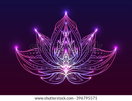 Outline Lotus with boho pattern and bright spark. Vector element for spa centers, yoga studios. Hand drawn. Doodle elements for your design - stock vector
