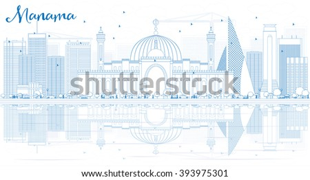 Outline Manama Skyline with Blue Buildings and Reflections. Vector Illustration. Business Travel and Tourism Concept with Modern Buildings. Image for Presentation Banner Placard and Web. - stock vector
