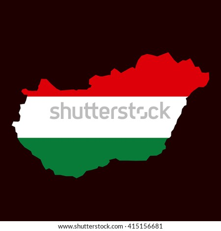 Outline map flag Hungary vector flat