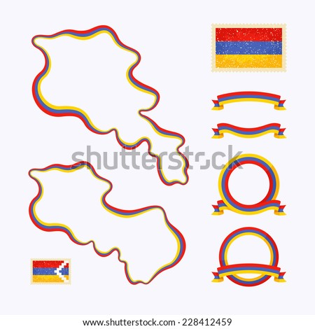 Outline map of Armenia. Border is marked with ribbon in national colors. The package contains frames in national colors and stamp with flag.  - stock vector